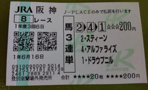 6月16日阪神8レース馬券