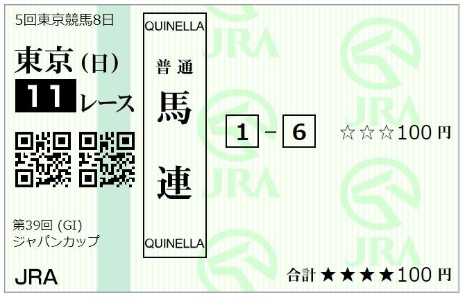 【競馬】ジャパンカップ馬連馬券