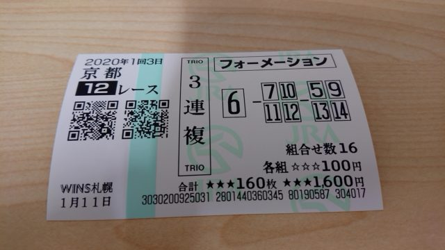 【競馬】京都12レース・3連複馬券