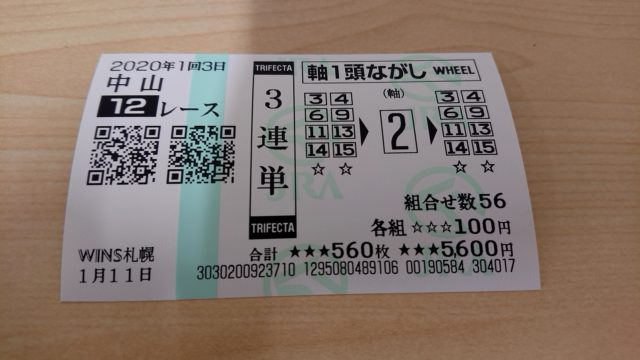 【競馬】中山12レース・3連単馬券