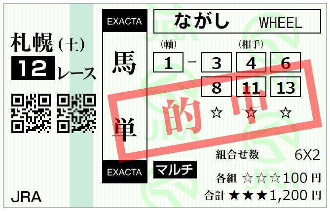 7月25日札幌最終レース的中馬券(馬単)